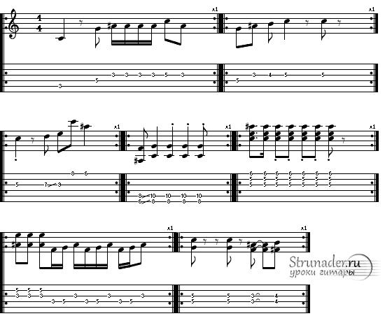 Блюзовые фразы состоящие из одного такта в ритме 4/4
